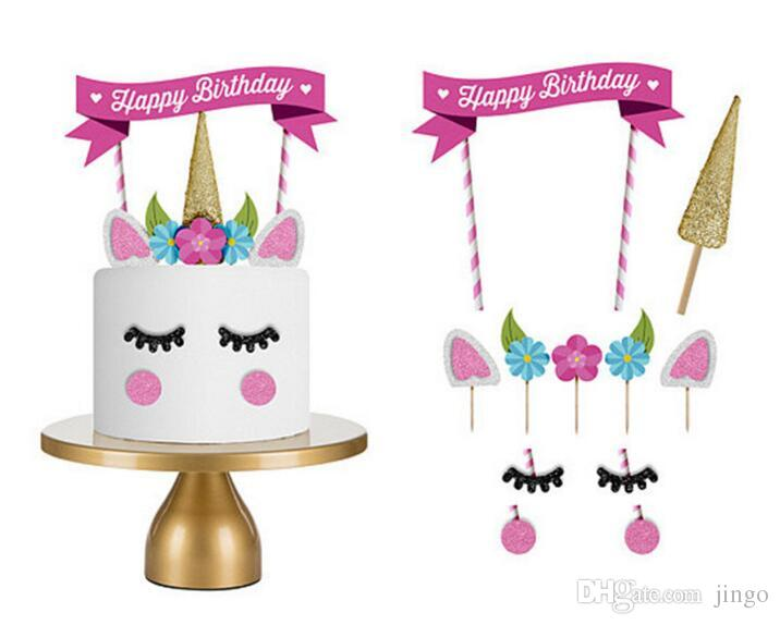 Einhorn Cake Topper Happy Birthday Party Supplies DIY Dekor Kuchen Dekoration Fur Baby Shower Hochzeit