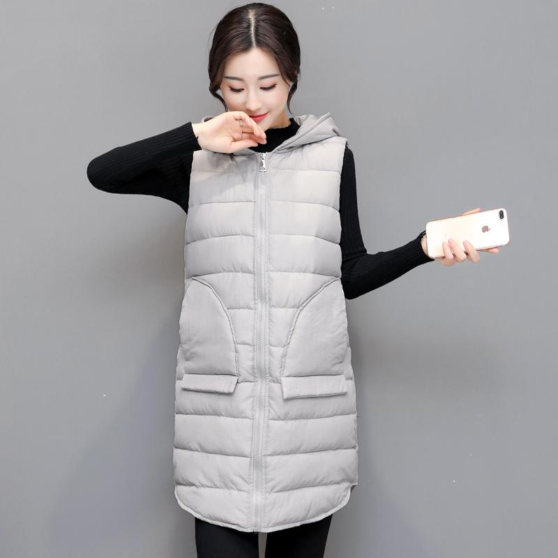 2017 긴 2 개의 큰 주머니 여성 겨울 양복 조끼 여성 단단한 가을 두건이 된 겉옷 womens 플러스 크기 3XL 숙녀 colete
