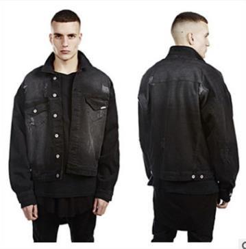 Men S Oversize Denim Jacket With Batwing Sleeve Dark Series Black