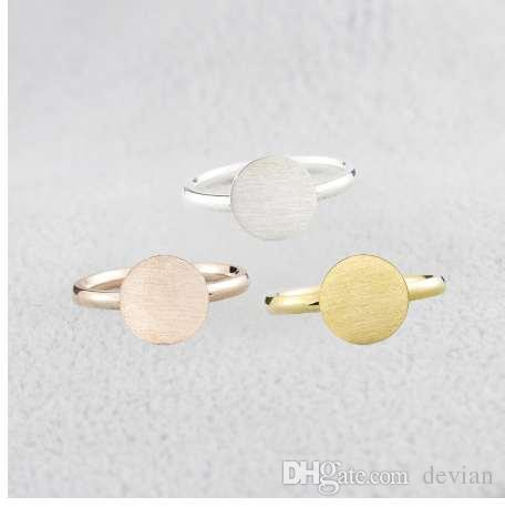 Minimalist Rose Gold Full Moon Rings For Women Anel Boho Jewelry Stainless Steel Geometric Round Finger Bague Femme Wedding Gift