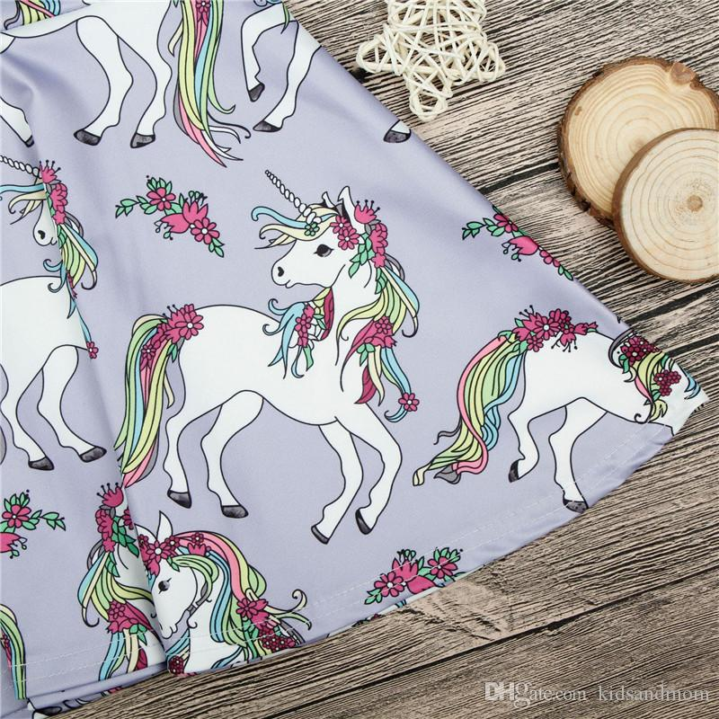 toddler girls dress unicorn printed striped for infant girls kids clothes cheap China wholesale 90-130 1-6y