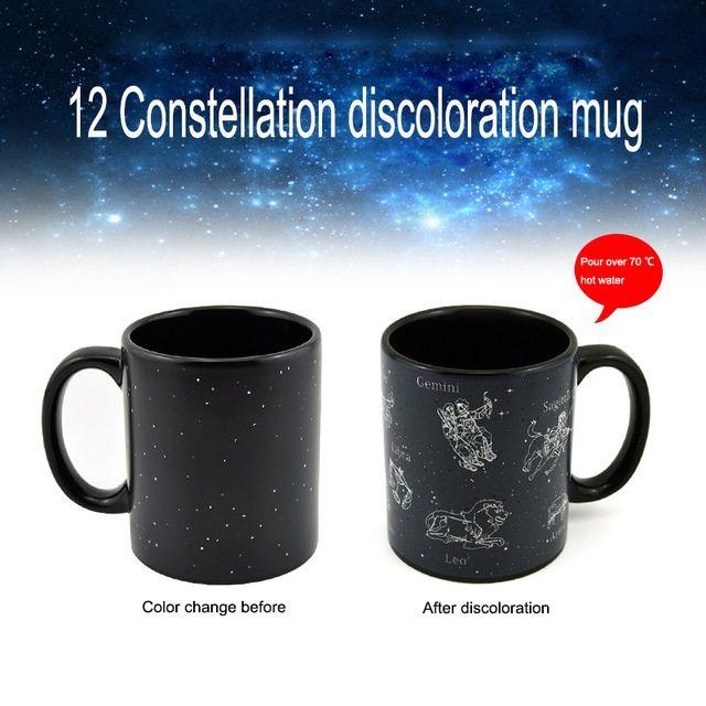 12 constellations discoloration mug color change mugs creative heat