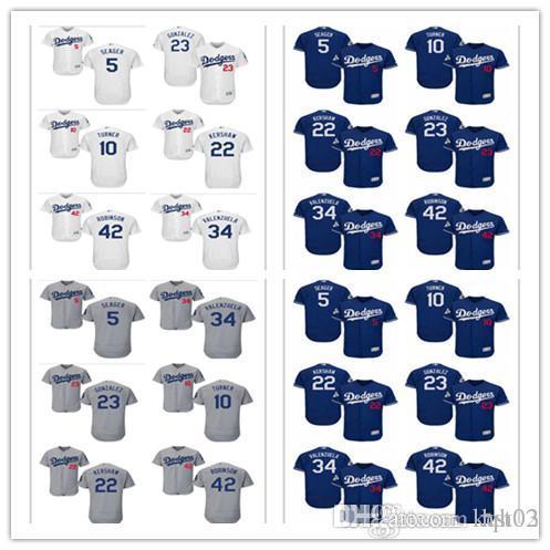 Men s Majestic LA Dodgers Jersey 42 Jackie Robinson 23 Adrian ... 08de85ad79a