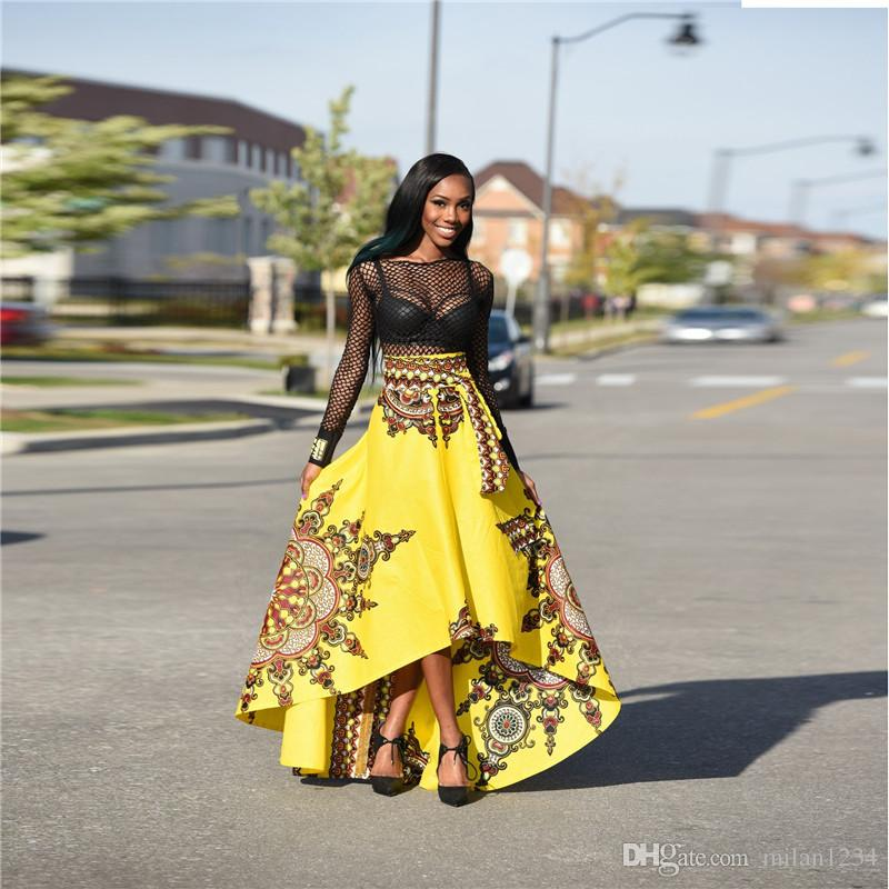 795e76c0ca African Clothes Skirt for Women Irregular Long African Skirt Fashion Women  African Print Long Skirt Ankara Dashiki Dashiki Womens African Clothing  Black And ...