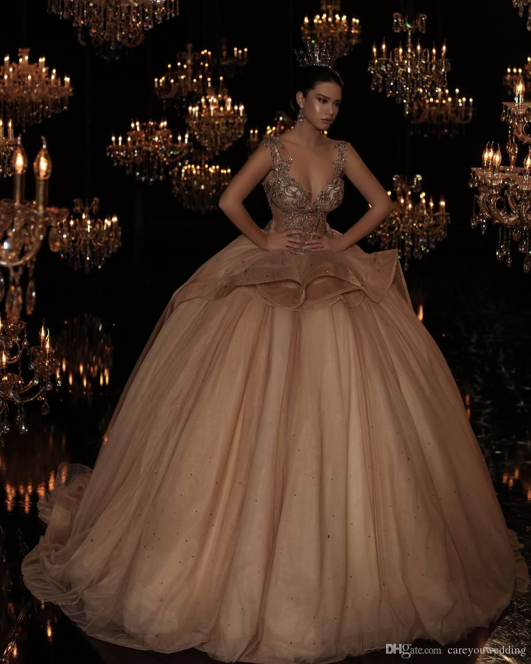 4864d833be3 2018 New Design Champagne Ball Gown Quinceanera Dresses Spaghetti Straps  Sequins Tiered Tulle Ruffles Chapel Train Quinceanera Gowns