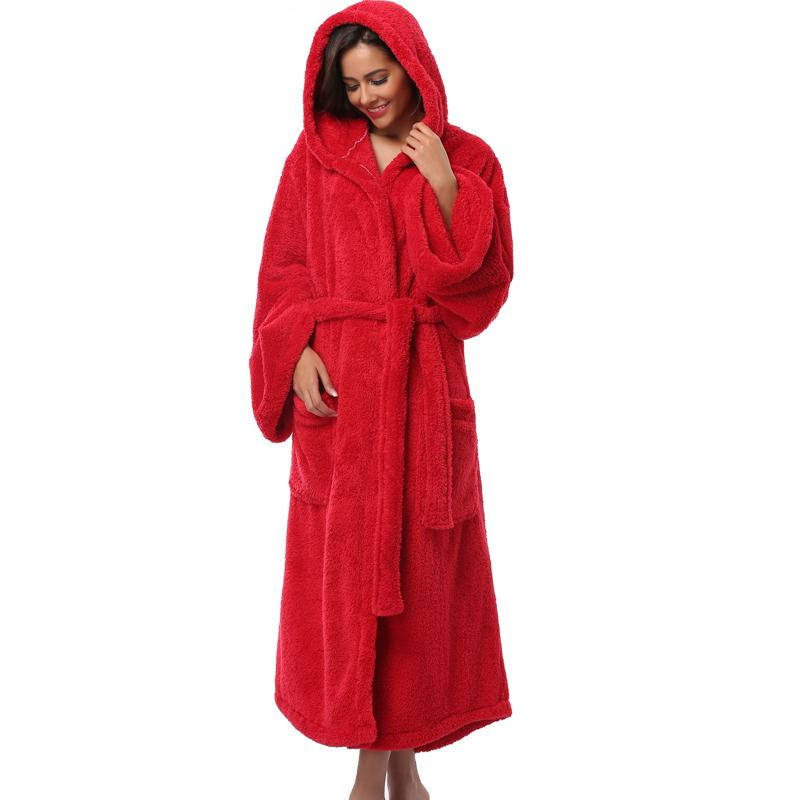bef4073c48 2019 Winter Thick Warm Women Robes 2017 Coral Fleece Sleepwear Long Robe  Woman Hotel Spa Plush Long Hooded Bathrobe Nightgown Kimono From Bichery