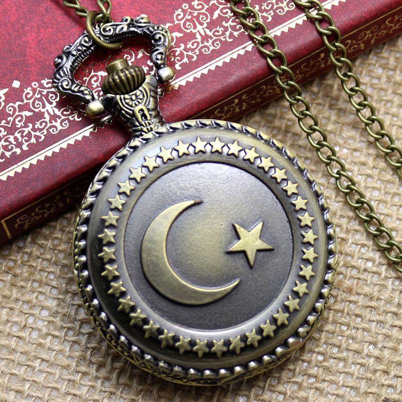 70ca571c3b3 Compre Relógio De Bolso Do Vintage Bronze Bandeira Peru Lua Estrela Círculo  Relógio De Bolso Para Homens