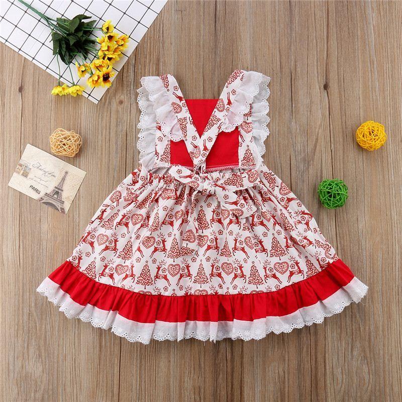 e6df4d62e845 2019 Christmas Clothes 2018 Autumn Spring Baby Girl Red Ruffles Lace ...