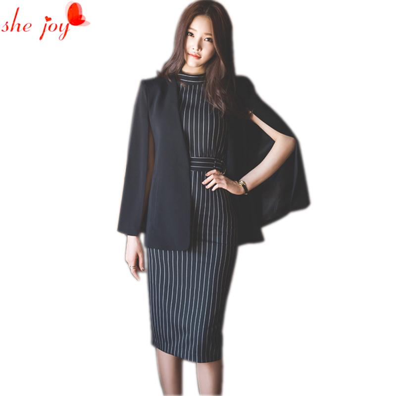 the latest 64aa6 35e73 Vestito da donna vestito coreano Nuovo vestito mantello strisce Vestito al  ginocchio 2 pezzi Vestito da abito blazr Twinset Abiti da lavoro OL Abiti  ...
