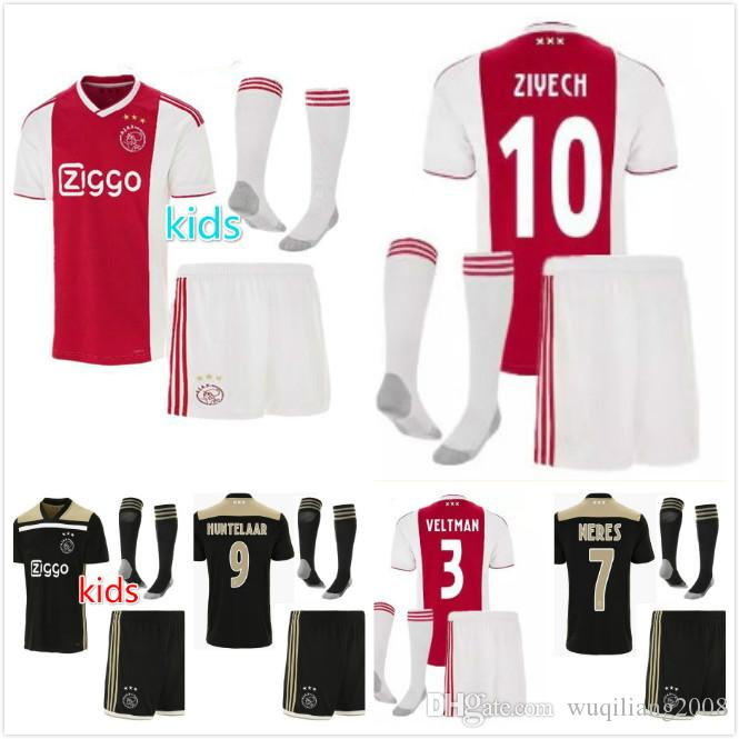 9b6e90e2f76 Top Quality 2018 2019 Ajax FC Home Away Soccer Jerseys Uniforms 18 19  DOLBERG ZIYECH HUNTELAAR YOUNES Kids Ajax Football Shirt Kit+Socks UK 2019  From ...