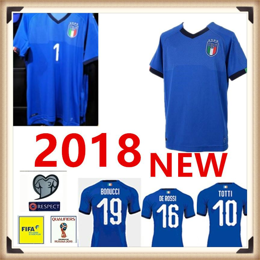 f3e5ccb1 2019 2018 2019 World Cup Home Blue INSIGNE PIRLO TOTTI EL SHAARAWY VERRATTI  Italian Soccer Jerseys National Football Shirts Thai Quality From ...