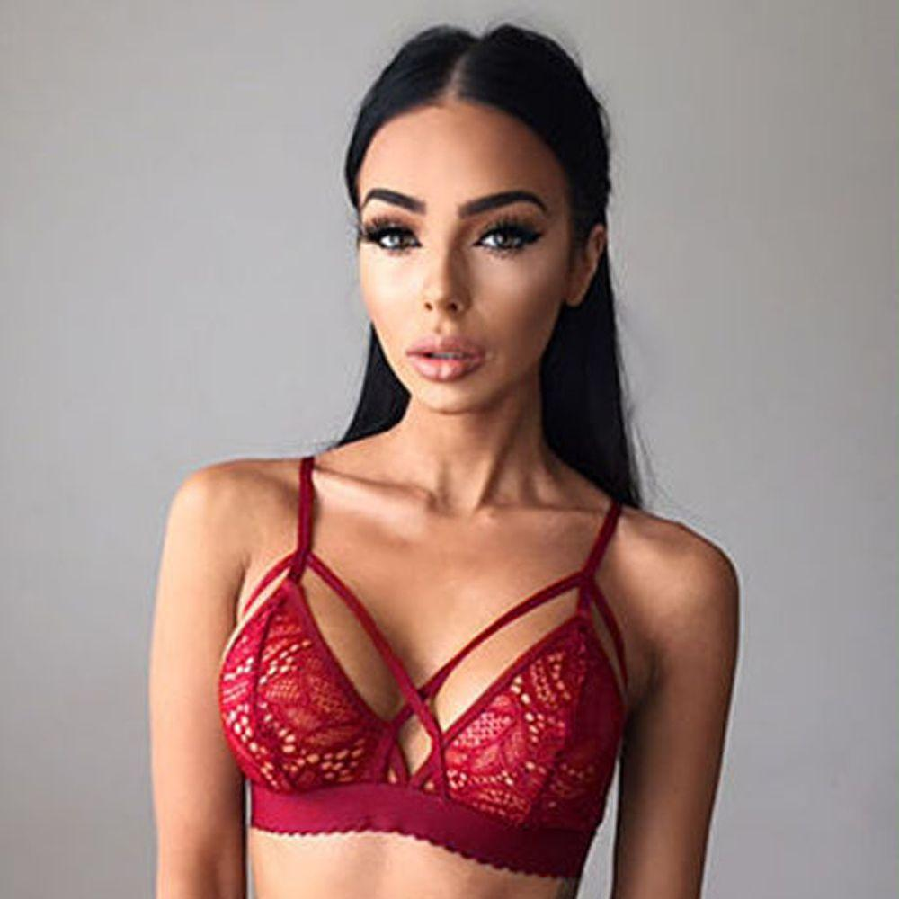 3382a719c84195 2019 2017 Sexy Summer Fashion Women Lingerie Floral Sheer Lace Triangle  Bralette Underwear Bra Crop Top Sleep Dress From Netecool