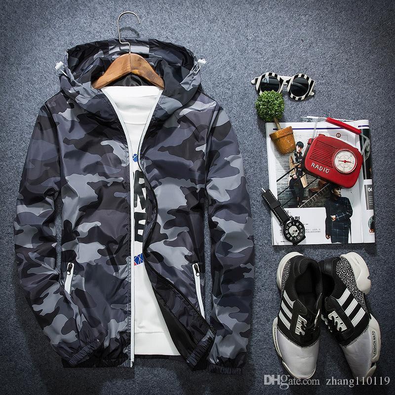 6244f00d70e24 2018 New Camouflage Jacket Men Plus Size Camo Hooded Windbreaker Jackets  Military Canvas Jacket Parka Fashion Streetwear Men Coat Mens Leather  Bomber Jacket ...