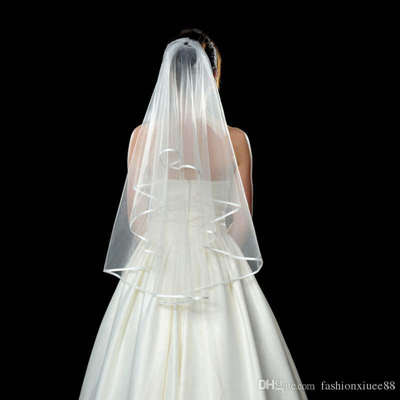 Фата 2018 горячей продажи дешевые свадебные аксессуары для свадебные платья дешевые свадебные два слоя тюль короткие