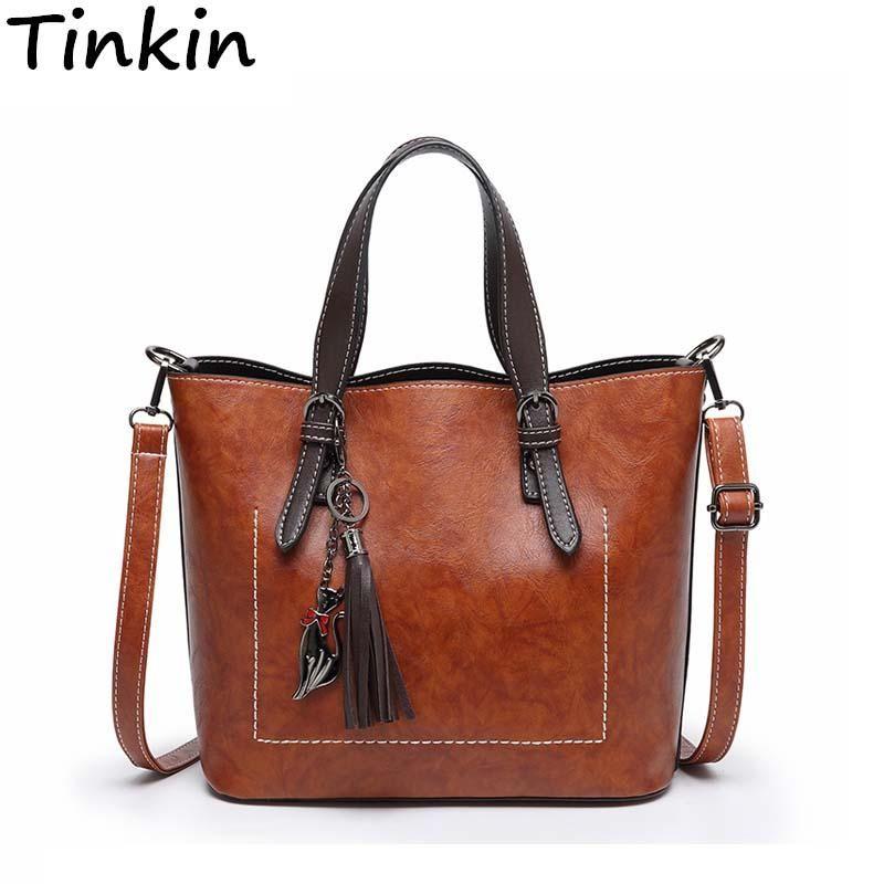 9f3e829e27f8 Tinkin Designer Women Shoulder Bag Fashion Vintage Leather Handbag ...