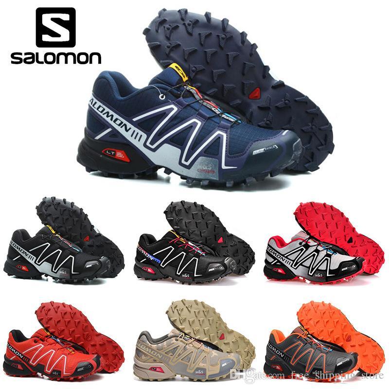 7a3ab03e06 Barato Salomon Speedcross 3 CS mens Tênis de corrida preto areia vermelha  homens Leve Tênis Zapatos Esportes Atlético À Prova D  Água Sapato tamanho  40-46
