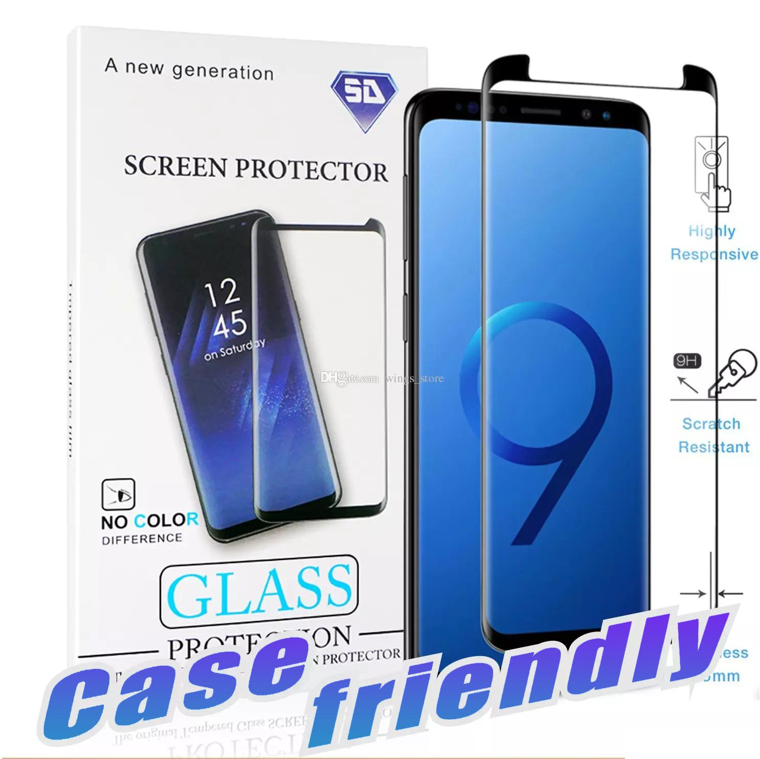 For Samsung Galaxy S9 S8 Plus Case Friendly 3D Curve Edge HD Clear Tempered Glass For Samsung Note 9 8 Screen Protector Samsung S9 Tempered Glass Screen