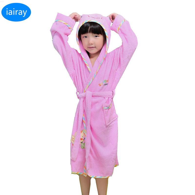 c43fd9d0314e IAiRAY Hooded Pajamas For Girls Sleepwear Pink Cotton Pyjamas Kids Poncho  Towels Girls Towel Robe Children Bathrobe Girl Costume Girl Pajama Fleece  Pajamas ...