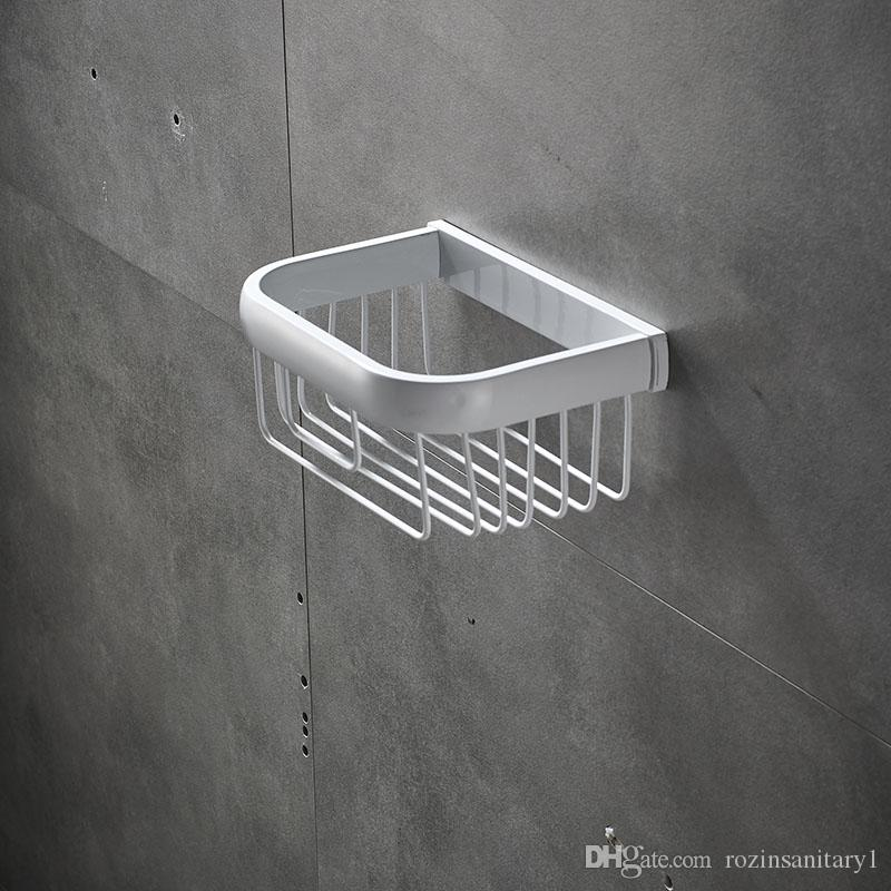 Bathroom Accessory White Silver Soap Dish Holder Wall Mounted Single Soap Basket Storage Holder