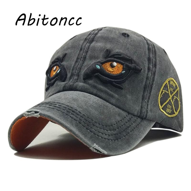 e74acbe9896 Abitoncc Vintage Washed Cotton Baseball Caps Men Snapback Dad Hat For Women  Cap Embroidery Eye Casquette Gorras Snapback Hats Ny Cap Mens Caps From  Zeipt