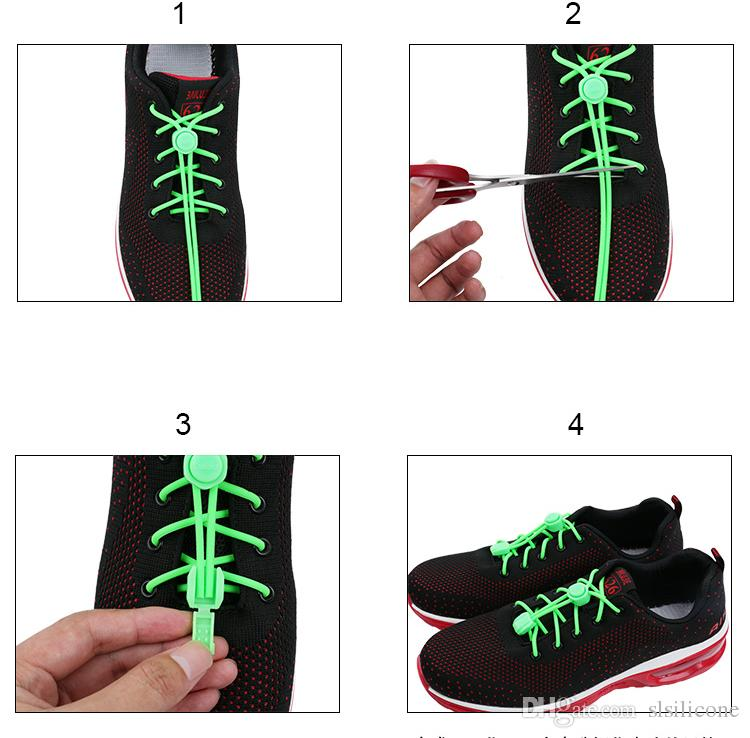 Silicone No Tie Elastic Shoelaces Silicone Rubber Lazy Shoe Lace for Sneakers with a Strong Lock Button Durable Shoe Lace for Women Men