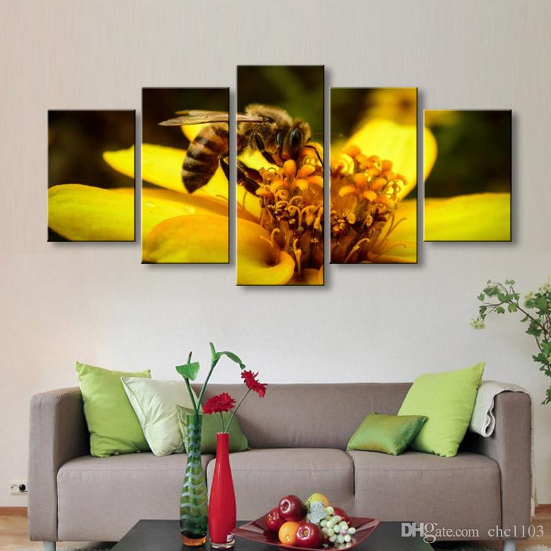 high-definition print Bees flowers canvas oil painting poster and wall art living room picture PF5-007