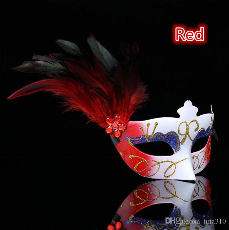 The new hot sale Creative mask Party ball Lady's feather plastic mask Spray paint mask T4H0251