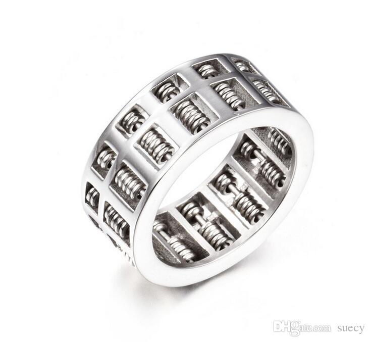 Moda Abacus Anel Para Mulheres Dos Homens de Alta Qualidade Número de Matemática Jóias de Prata de Ouro de Aço Inoxidável Charme Anéis Presentes