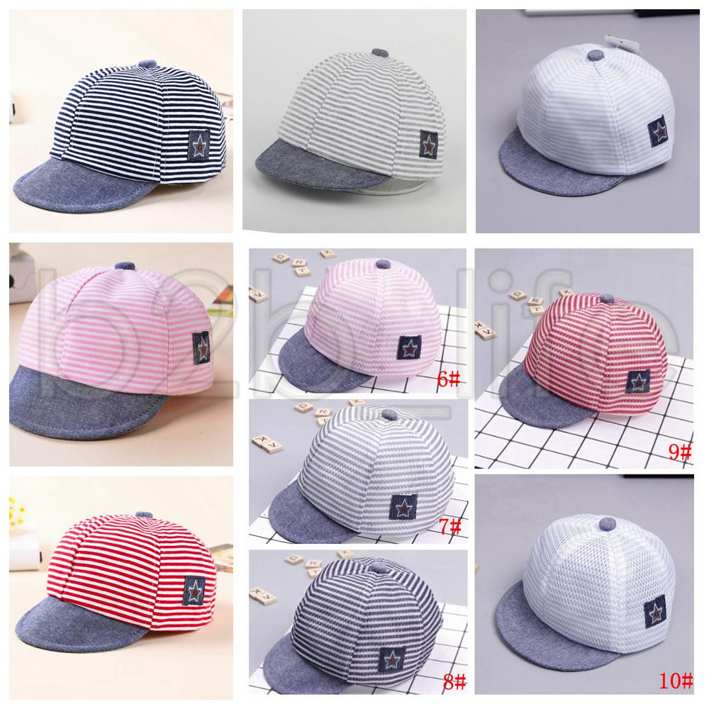 2ceb11d2afec42 2019 Baby Hats Summer Cotton Casual Striped Eaves Baseball Cap Boy Girls  Sun Hat 10 Styles Cloth Styles And Mesh Net Styles AAA642 From Kids_dress,  ...
