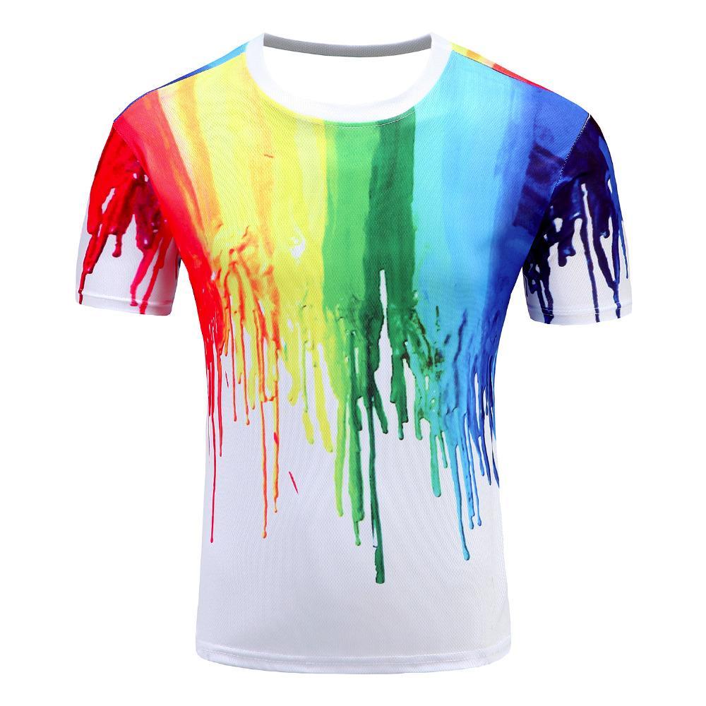 ba204720e302 2018 Novelty 3D T Shirt Men Multicolor Paint Printed Hip Hop Crewneck Short  Sleeve Men Women T Shirt Tee Tops Wholesale Crazy Design Shirts Best Tee  Shirt ...