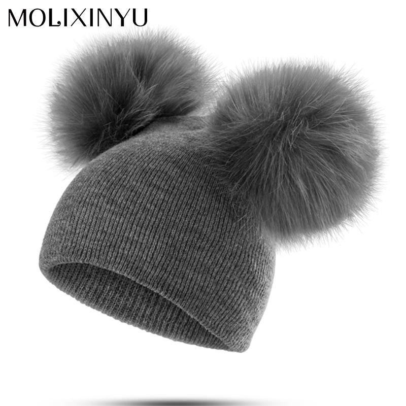 86d90bb9b 2018 MOLIXINYU Children Hat Toddler Kids Baby Warm Winter Wool Hat Knit  Beanie Fur Pom Pom Hat Baby Boys Girls Cap 1-3Y Drop Shipping