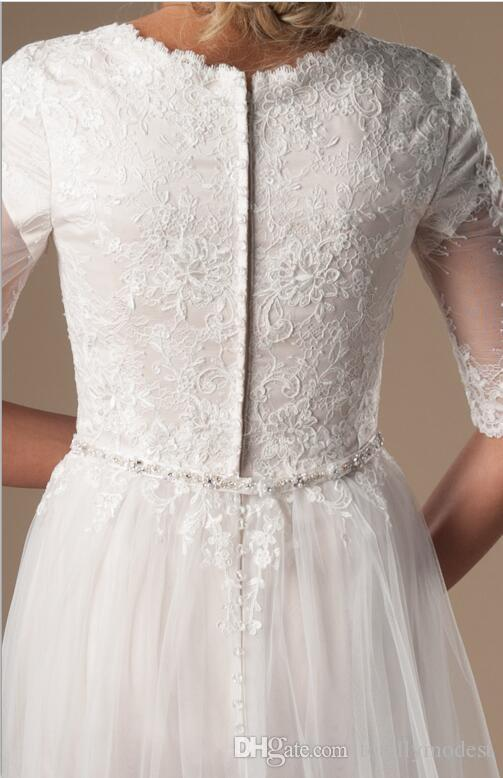 Ivory Champagne Modest Wedding Dresses With Half Sleeves Beaded Belt Lace Tulle LDS Bridal Gowns Sleeved Custom Made Religious Wed Gown