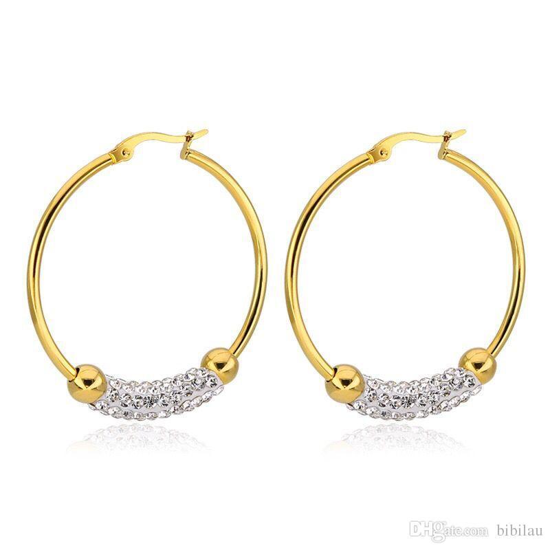 d35297a4a767 Compre Venta Al Por Mayor TE 0026 Pendientes De Aro De Cristales De Acero  De Titanio Para Joyería De Las Mujeres Sin Color De Oro De Fundido A  1.71  Del ...