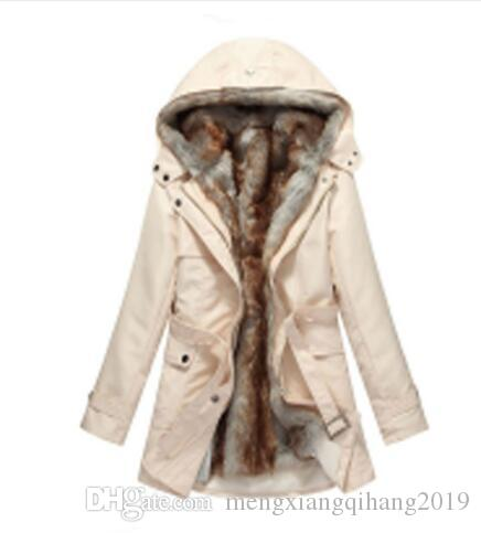 20a3b439802 Hot! Faux Fur Lining Women S Fur Hoodies Ladies Coats Winter Warm Long Coat  Jacket Cotton Clothes Thermal Parkas Plus Black Leather Jacket Down Jacket  From ...