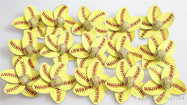 2018 yellow softball baseball basketball leather crystal baseball white flowers bows hair hair clip jewelry gifts for mother girls
