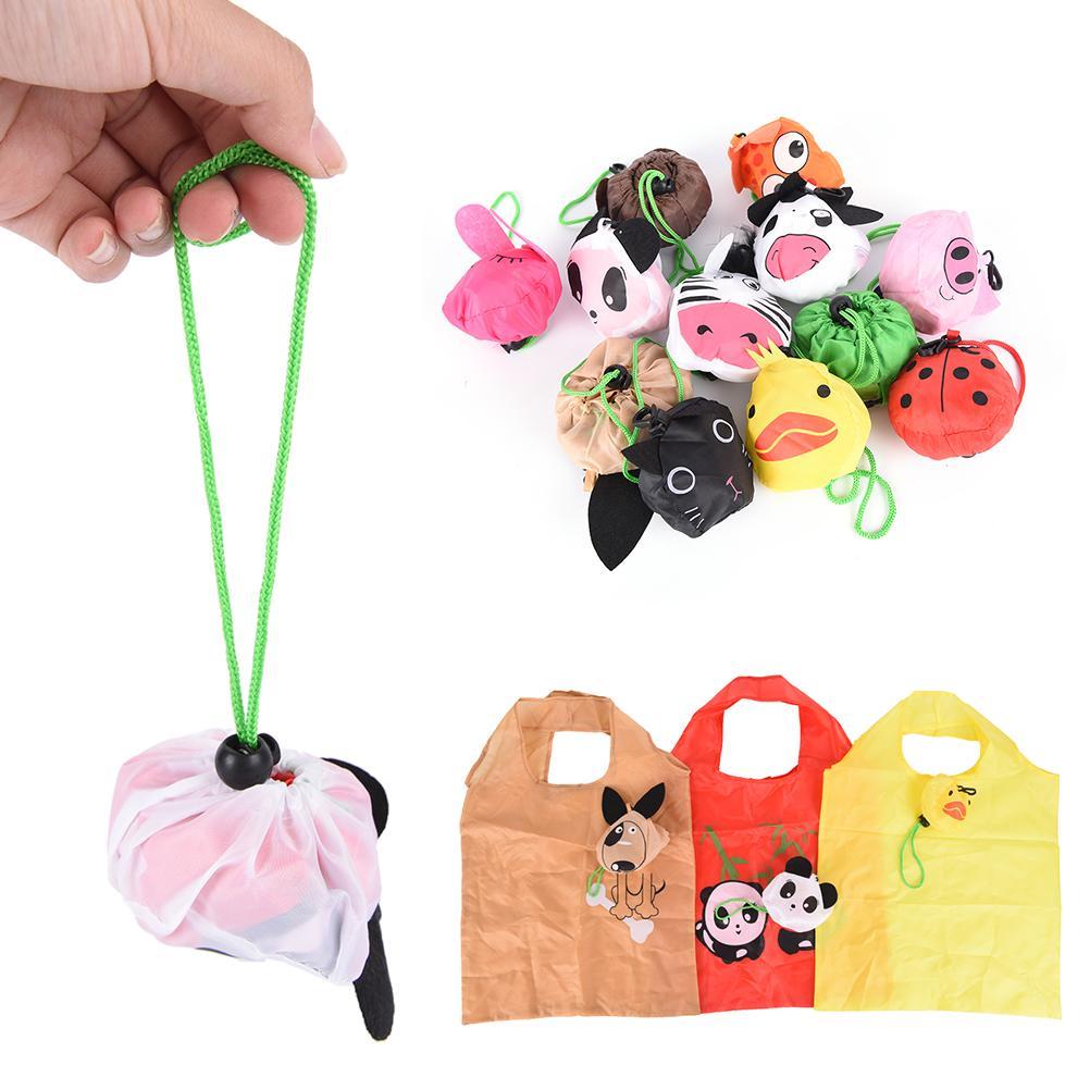 Reusable Eco Foldable Cartoon Animal Panda Frog Pig Bear waterproof Shopping Tote Bag shopping bags Storage Bags