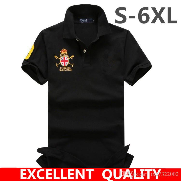 2dcc2f1bf 2019 S 6XL Summer Solid Big Horse Embroidery Polo Shirts Men Short Sleeve  Cool Mens 100% Cotton Polo Shirt Brands Business Style Men S Polo Shirt  From ...