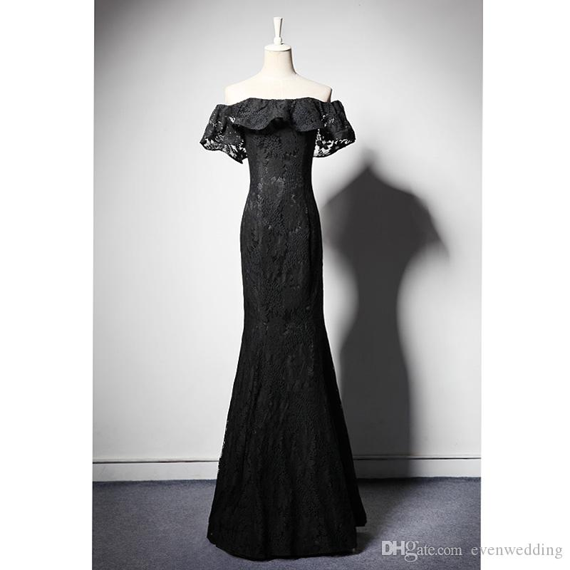 Lace Mermaid Evening Dresses with Ruffled Sleeves Black Off Shoulder Party Dresses New Long Prom Gowns