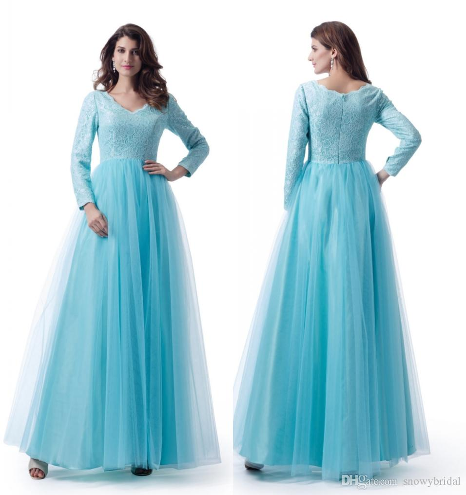 Blue Modest Wedding Bridesmaid Dresses With Long Sleeves V Neck Lace ...
