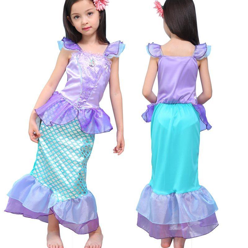 18beb612f8ef Acquista The Little Mermaid Dress For Kids Fancy Princess Ariel Cosplay  Costume Di Halloween Little Mermaid Abiti Ragazza Regalo Di Natale A  14.08  Dal ...