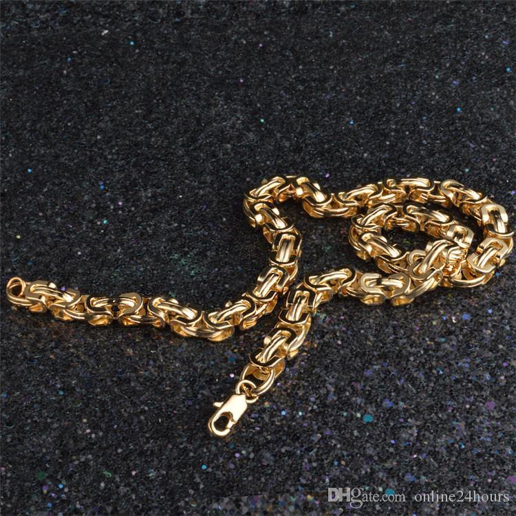 Pulsera de los hombres de hip-hop Brazalete Vintage Color Oro Amarillo Collar Cadena 9 MM Pulseras Joyería de Moda Regalo de Cumpleaños de Navidad