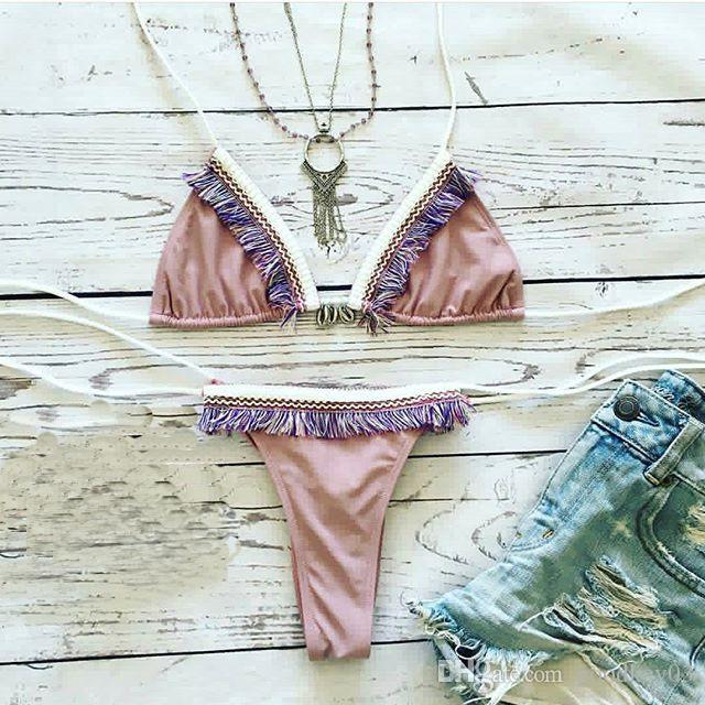 الكشكشة مثير بيكيني مجموعات النساء مبطن ضمادة نمط الرباط Monokini ملابس السباحة الرسن الوردي