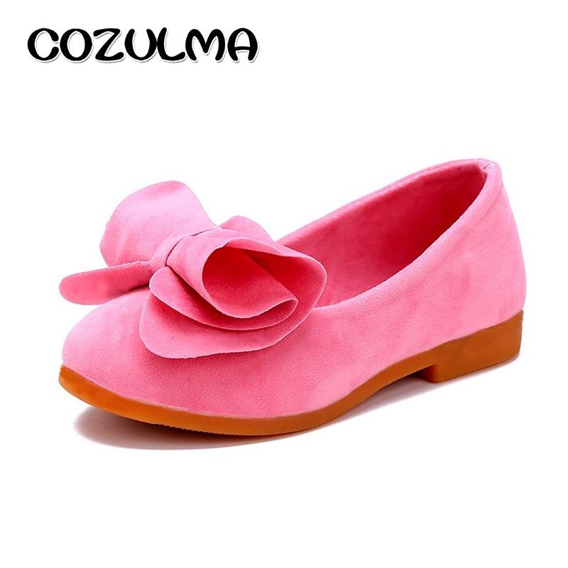 COZULMA Autumn Girls Fashion Sneakers Soft Sole Kids Bow Casual Shoes Girls Princess Candy Color Flats Children School Shoes