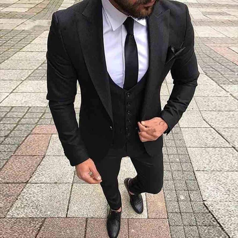 45fb40d01 Compre Trajes De Boda Negros Para Hombres De Negocios Formales Traje De  Baile De Graduación De Hombre Esmoquin Slim Fit Vestidos De Novia De Boda  ...
