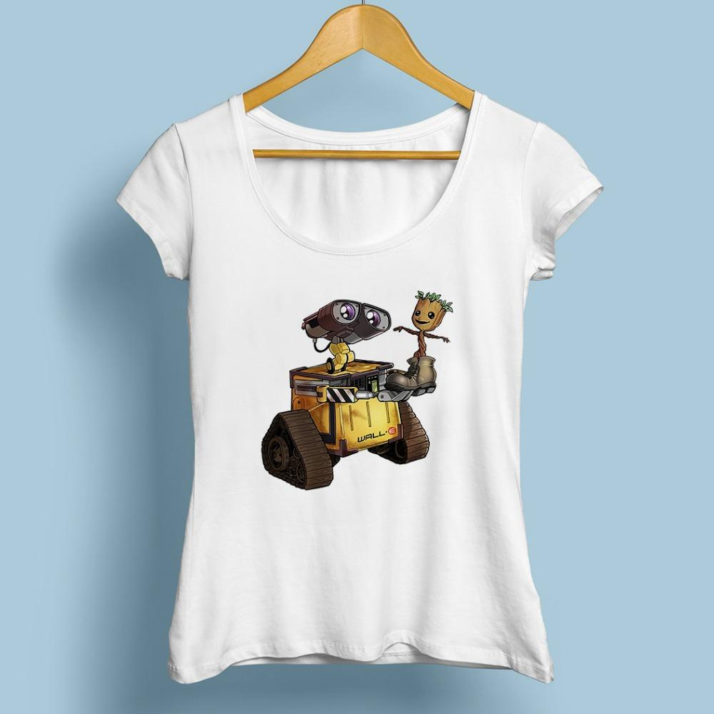 Cute Wall E Robot With Groot Baby Funny Tshirt Femme