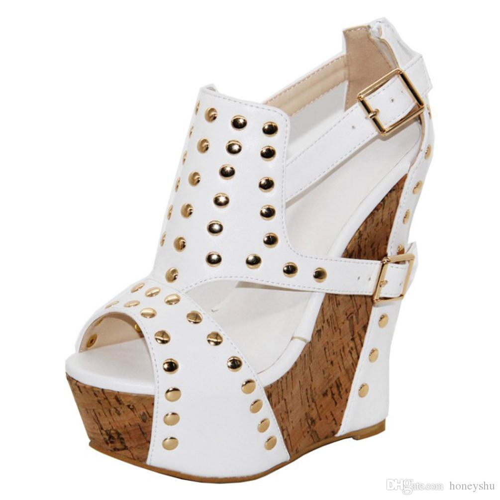 Kolnoo New Products Handmade Ladies Wadge Heel Sandals Spikes Peep-toe Cut Out Dress Dating Party Fashion Xmas Shoes A1839