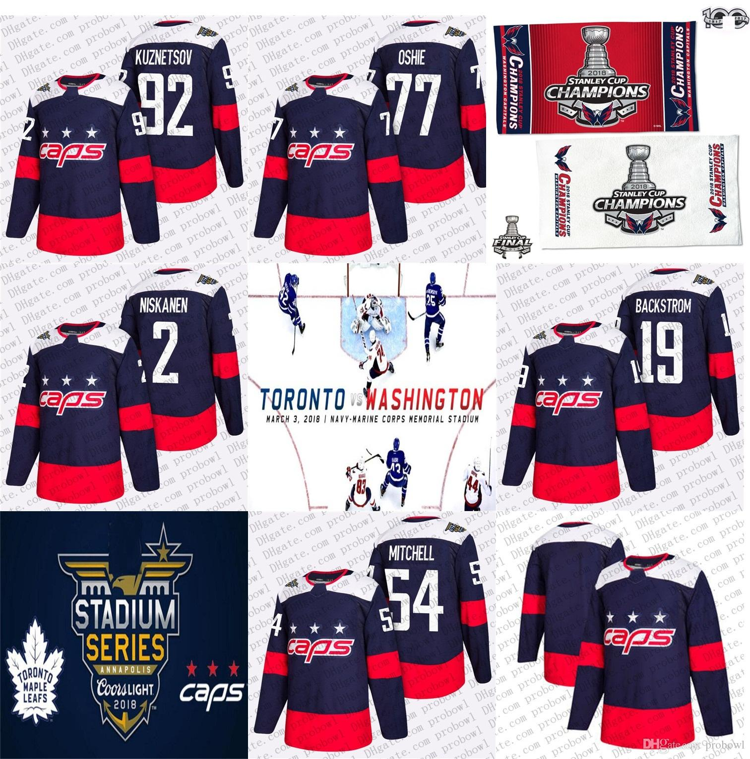 9b50d19e7 2019 2018 Stanley Cup Champion Evgeny Kuznetsov Stadium Series Hockey  Jersey Washington Capitals T.J. Oshie Niskanen Mason Mitchell 19 Backstrom  From ...