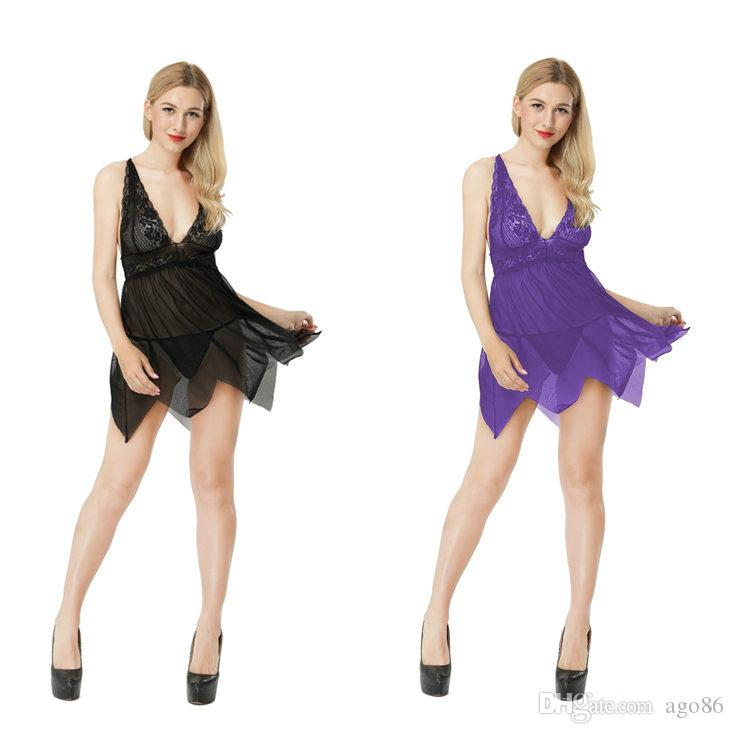 d563937266f 2018 New Fashion Hot Sales Western Styles Black   Purple Lace Hanging Neck  Sexy Mini Dress + T String Sets