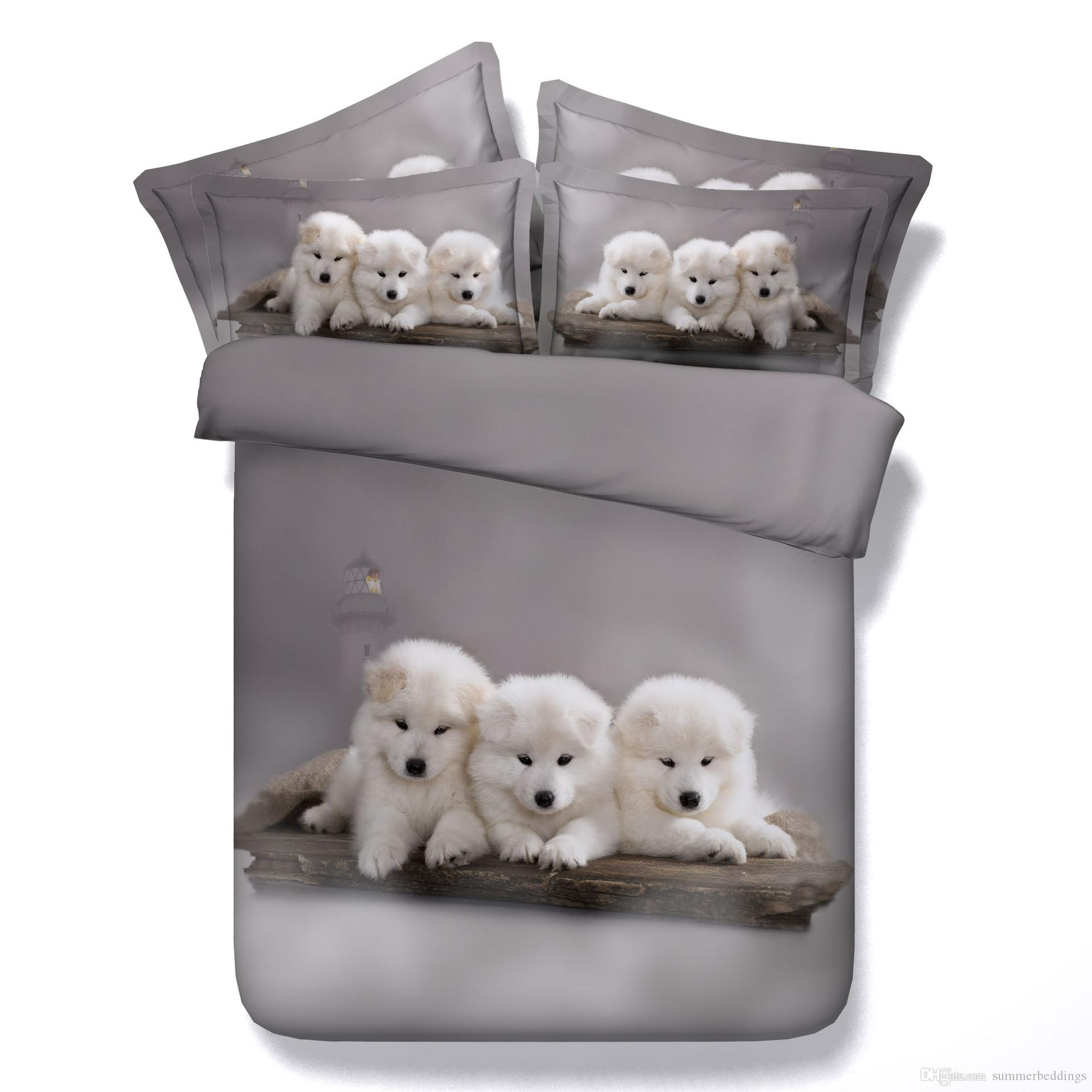 3D Dogs Bedding Sets Duvet Cover Puppy Bedspreads Grey Comforter Cover Bed  Linen Quilt Covers Silver Adorable Bed Cover For Children Kids Blue And  White ... 10b2c4b7d