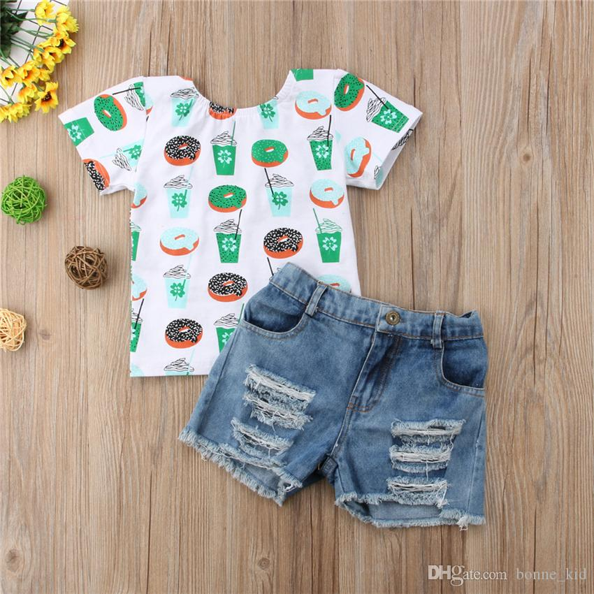 2019 Girls Donut Ice Cream T Shirt Ripped Jeans Set Outfits Summer
